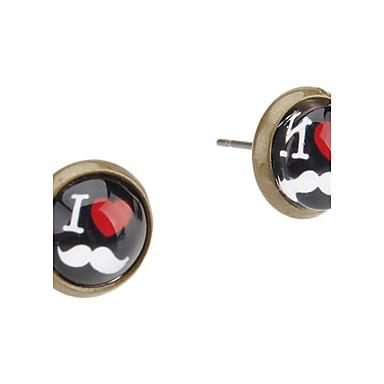I Love Moustache Pattern Alloy Earrings