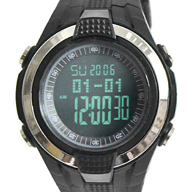 남자의 공기 압력 다기능 LCD 디지털 방식으로 고무 손목 시계 (블랙)