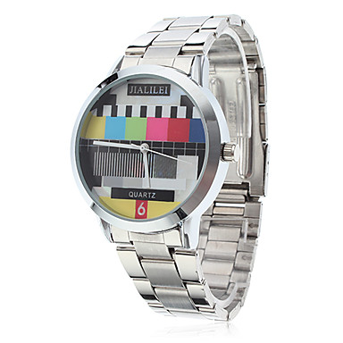 Unisex TV Pattern Silver Steel Quartz Analog Wrist Watch Cool Watch Unique Watch