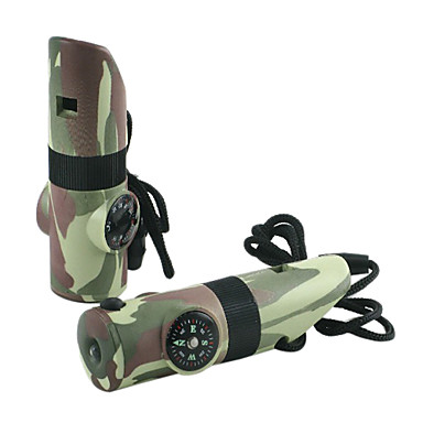 Camouflage Multifunction Whistle(Compass/Magnifying Glass/Thermometer/LED Light)
