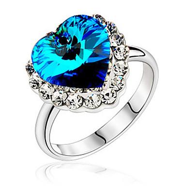 modernen blauen herzförmigen Zirconiumdioxidlegierung Platin überzogener Ring