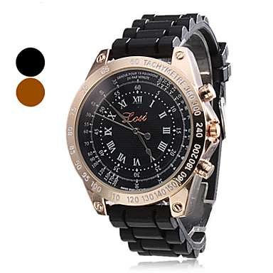 Men's Casual Style Silicone Analog Quartz Wrist Watch (Assorted Colors)