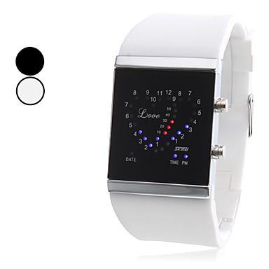 Masculino Relógio Esportivo Único Criativo relógio Digital LED Borracha Banda Preta Branco marca