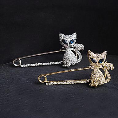 Kadın's Broşlar Kristal Lüks Parti Günlük sevimli Stil Moda Simüle Elmas Kedi Hayvan Mücevher Uyumluluk Parti Özel Anlar Doğumgünü Hediye