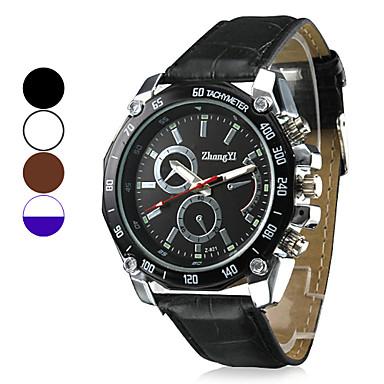 Men's Quartz Wrist Watch Military Watch Casual Watch PU Band Charm Black White Brown