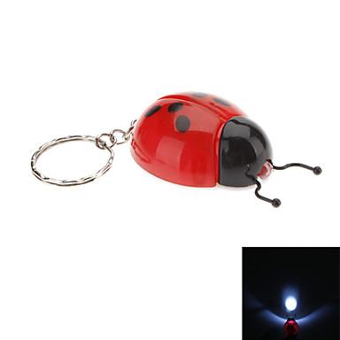 Coccinella septempunctata Shaped LED lommelykt nøkkelring (tilfeldige farger)