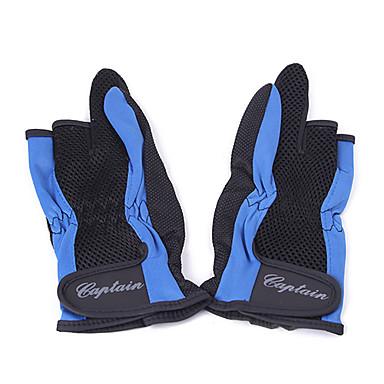Fishing Three Half-Finger + Two Full-Finger Anti-Slip Gloves (Black&Blue)