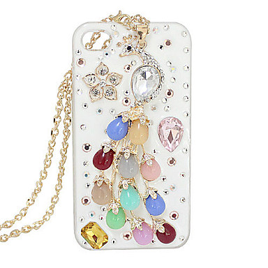 Gold Plated Acrylic Zircon Peacock Flower Pattern Hard Case for iPhone 4/4S