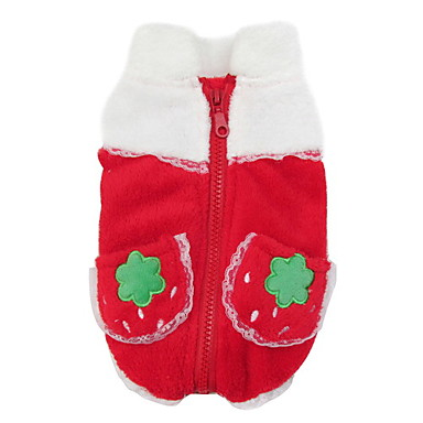 Cute Strawberry Pattern Lace Coral Fleece Coat for Dogs (XS-XL)