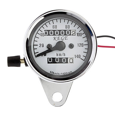 Motorcycle Universal Dual Odometer Night Light Speedometer Gauge