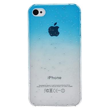 iPhone 4/4S İçin Şeffaf 3D Su Damlası Desenli Mavi Gradient Tarzda Sert Kılıf