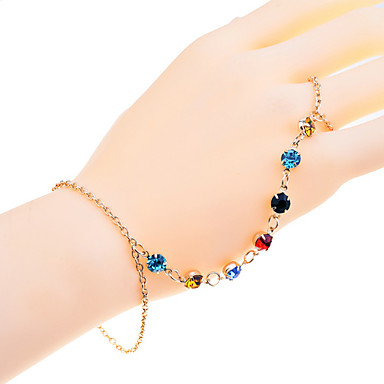 Lureme Colorful Claw Crystals Ring Bracelet