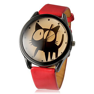 preiswerte Damen Uhren-Damen Armbanduhr Quartz Gestepptes PU - Kunstleder Schwarz / Weiß / Rot Armbanduhren für den Alltag Analog damas Zeichentrick Modisch - Weiß Schwarz Rot Ein Jahr Batterielebensdauer / SSUO LR626