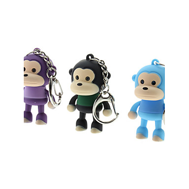 ABS Monkey Shaped Keychain with LED & Voice (Random Color)