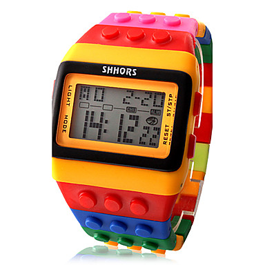 Women's Digital Watch Wood Watch Fashion Watch Digital Alarm Calendar / date / day Chronograph LCD Plastic Band Candy color Cool