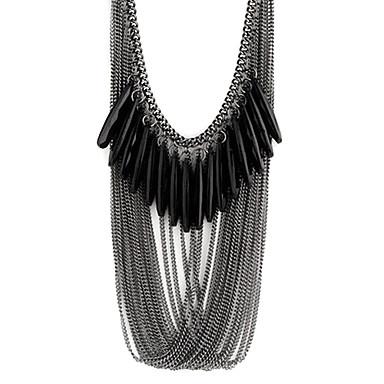 Kadın's Katmanlı Açıklama Kolye - Reçine Damla Moda, Çoklu Katman Siyah Kolyeler Mücevher Uyumluluk Parti