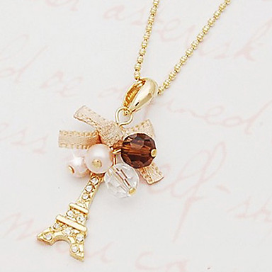 Women's Bowknot Imitation Diamond Pendant Necklace - Personalized Luxury Fashion Tower Bowknot Golden Necklace For Party Daily