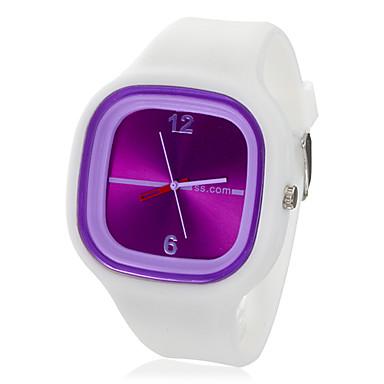 שעון יוניסקס ג'לי סגול חיוג לבן סיליקון להקת קוורץ אנלוגי שורש כף יד