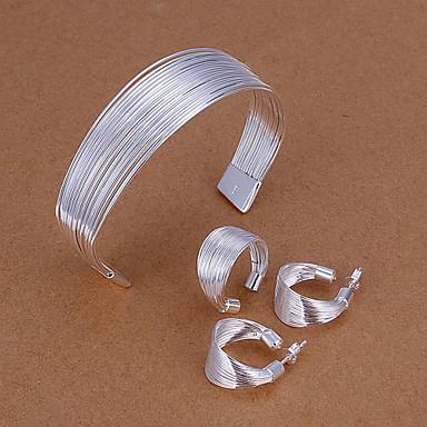 Silver Plated Jewelry Set Rings / Earrings / Bracelets & Bangles - Simple Style Silver Jewelry Set / Ear Piercing / Chain Bracelet For