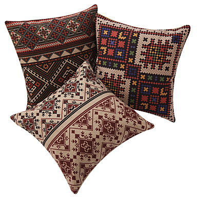 Set of 3 Classic Tapestry Plaid Cotton/Linen Decorative Pillow Cover