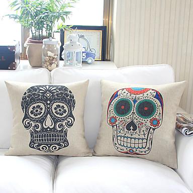 2 şık tasarım pamuk / keten dekoratif yastık örtüsü seti