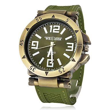 Erkek Bilek Saati Asker Saat Quartz Gündelik Saatler Silikon Bant İhtişam Siyah Yeşil