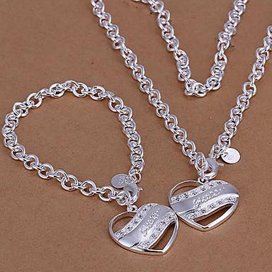 Takı Seti - Gümüş Kaplama Kalp, Aşk Dahil etmek Uçlu Kolyeler Uyumluluk Düğün Parti Günlük / Bilezik