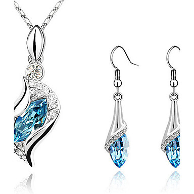 Women's Crystal Crystal / Cubic Zirconia / Silver Plated Drop Jewelry Set Earrings / Necklace - Rhinestone / Elegant / Fashion Green /