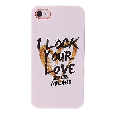 iphone 4 / 4s için aşk karakter desen beyaz pürüzsüz anti-şok dava