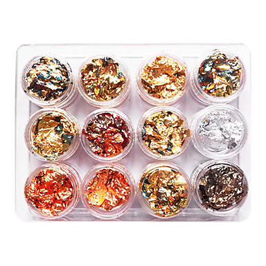 12 pcs Nail Jewelry / Glitter & Poudre / Dekorasyon Setleri Punk / Düğün / Moda Günlük Tırnak Tasarımı Tasarımı / Metal
