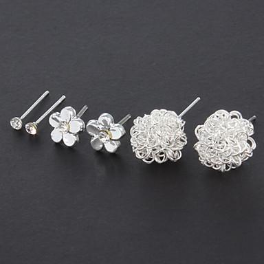 Sweet (Irregular) Silver Alloy Stud Earrings (3 Pairs)
