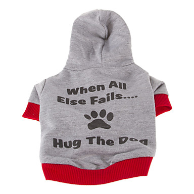Dog Hoodie Dog Clothes Letter & Number Gray Light Blue Cotton Costume For Pets Men's Women's Casual/Daily Sports