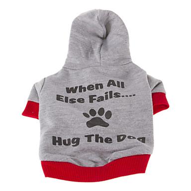 Köpek Kapüşonlu Giyecekler Köpek Giyimi Harf & Sayı Gri Açık Mavi Pamuk Kostüm Evcil hayvanlar için Erkek Kadın's Günlük/Sade Sporlar