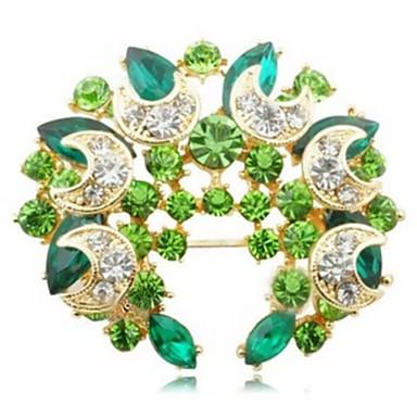 Kadın's - Kristal Moda Broş Yeşil / Mavi Uyumluluk Parti / Günlük