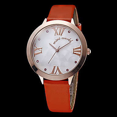 Women's Simple Dial Gold Case Orange Leather Band Quartz Analog Wrist Watch