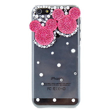 Diamond Look Rose Mouse Pattern Transparent PC Hard Case for iPhone 5C