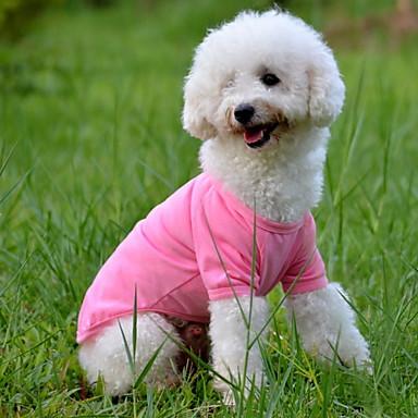 ieftine Imbracaminte & Accesorii Căței-Câine Tricou Îmbrăcăminte Câini Mată Verde Albastru Roz Bumbac Costume Pentru Vară