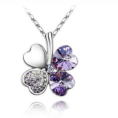 Women's Four Leaf Clover Basic Fashion Simple Style Pendant Necklace Crystal Rhinestone Platinum Plated Alloy Pendant Necklace , Wedding