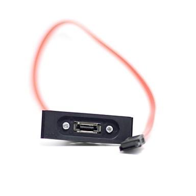 ESATA 7 Pimli Dişi Uzatma Kablosu ile Shell & Braketi Ön Panel Bay Kırmızı Renk 40cm SATA 7 Pimli Erkek