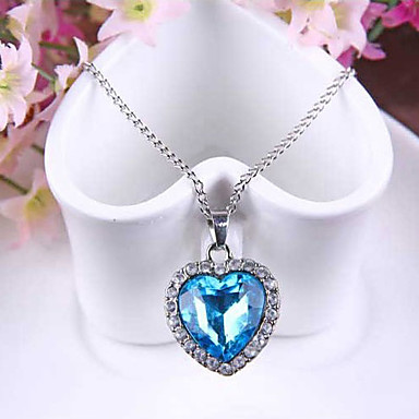 cheap Crystal Necklaces-Women's Synthetic Sapphire Pendant Necklace Solitaire Box Chain Heart Love Ladies Fashion Austria Crystal Alloy Blue Necklace Jewelry For Wedding Party Special Occasion Anniversary Gift Daily