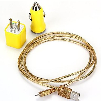 3-in-1 Micro USB Charging Data Sync Cable Car Charger US Power Adapter Set for Samsung Galaxy S4/S3