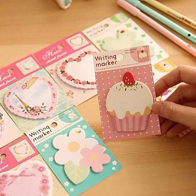 çiçek kek kalp deseni kendiliğinden yapışan notu (rastgele renk)