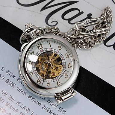 Mens Silver White Magnifier Through Mechanic Skeleton Pocket Watch Cool Watch Unique Watch