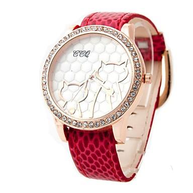 Women's Cat Pattern Golden Case PU Band Quartz Analog Wrist Watch with Rhinestone (Assorted Colors)
