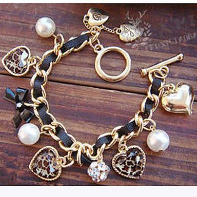 Kadın Tılsım Bileklikler Aşk Avrupa kostüm takısı lüks mücevher İnci İmitasyon İnci Simüle Elmas alaşım Heart Shape Bowknot Shape Aşk