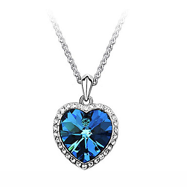 cheap Necklaces-Women's Sapphire Cubic Zirconia tiny diamond Pendant Necklace Solitaire Simulated faceter Heart Love Ladies Fashion Movie Jewelry Bling Bling 18K Gold Plated Zircon Cubic Zirconia Blue Necklace