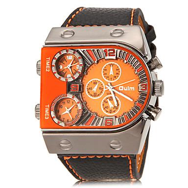 Oulm Men's Military Watch Wrist Watch Quartz Three Time Zones PU Band Analog Charm Black - White Orange Yellow Two Years Battery Life / SOXEY SR626SW