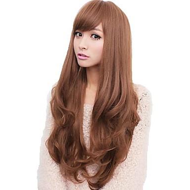 Sentetik Peruklar Dalgalı Bantlı Patlama ile Yoğunluk Bonesiz Kadın's Gri Kahverengi Doğal Peruk Uzun Sentetik Saç