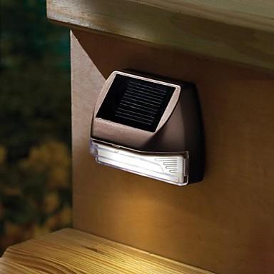 2 LED-uri de plastic alb Mini dreptunghi Deck solare Lumina solara Scari lampă de perete de lumină