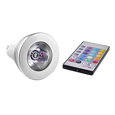 GU10 LED Spotlight MR16 1 High Power LED 150 lm RGB Remote-Controlled AC 85-265 V